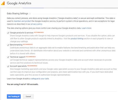 menghubungkan google analytics ke blog