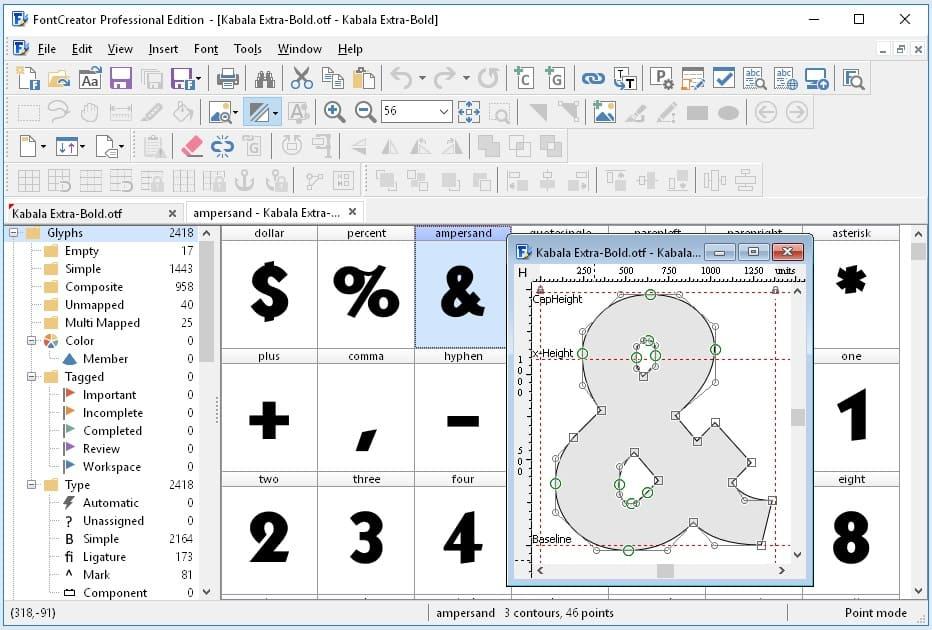 برنامج تصميم وصناعة الخطوط والتعديل عليها FontCreator Professional Edition