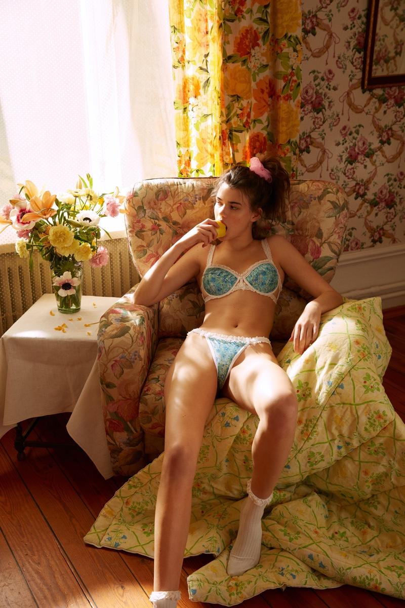 For Love & Lemons x Victoria's Secret Alana Floral Bra & Thong Panty.