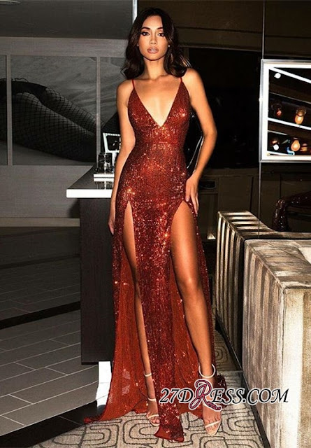 Sexy Red Sequins V-Neck Prom Dress | 2019 Long Evening Gowns With Slit