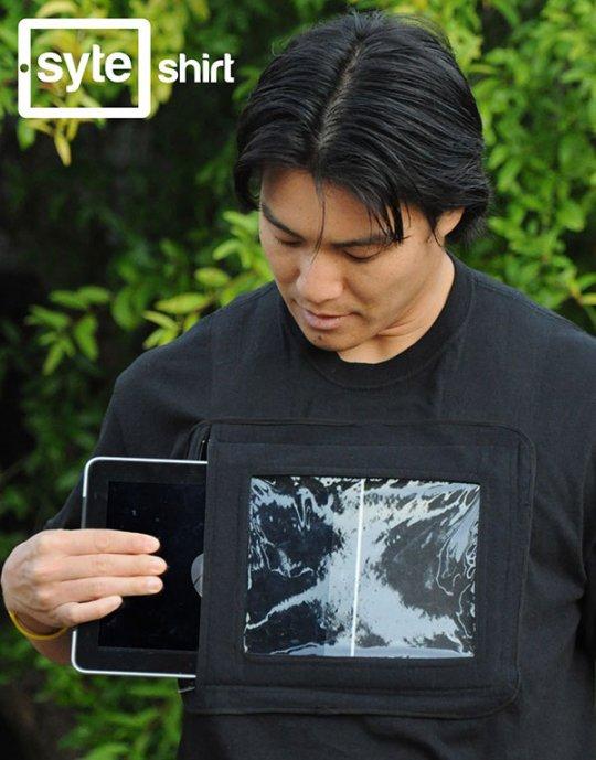 Camiseta con funda para ipad