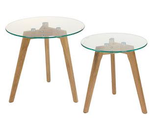 juego de 2 mesas modernas roble