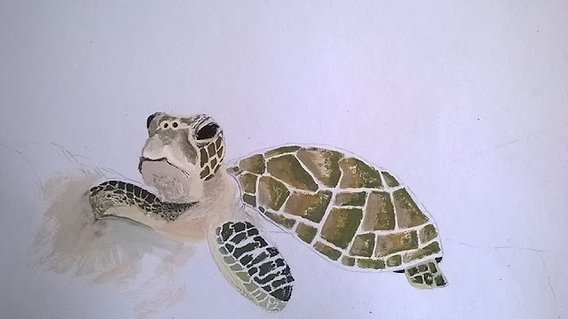 Painting Turtle ongoing 2 by Ellis Derkx