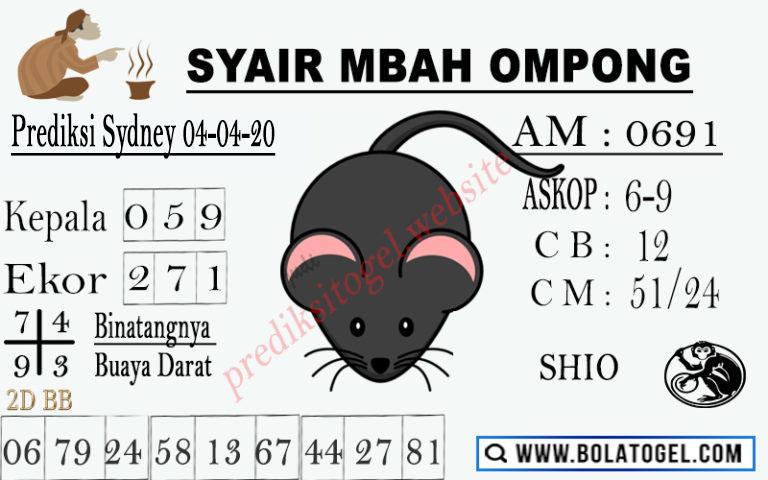 Prediksi Togel Sidney Sabtu 04 April 2020 - Syair Mbah Ompong