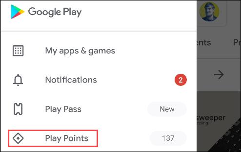 نقاط google play من القائمة