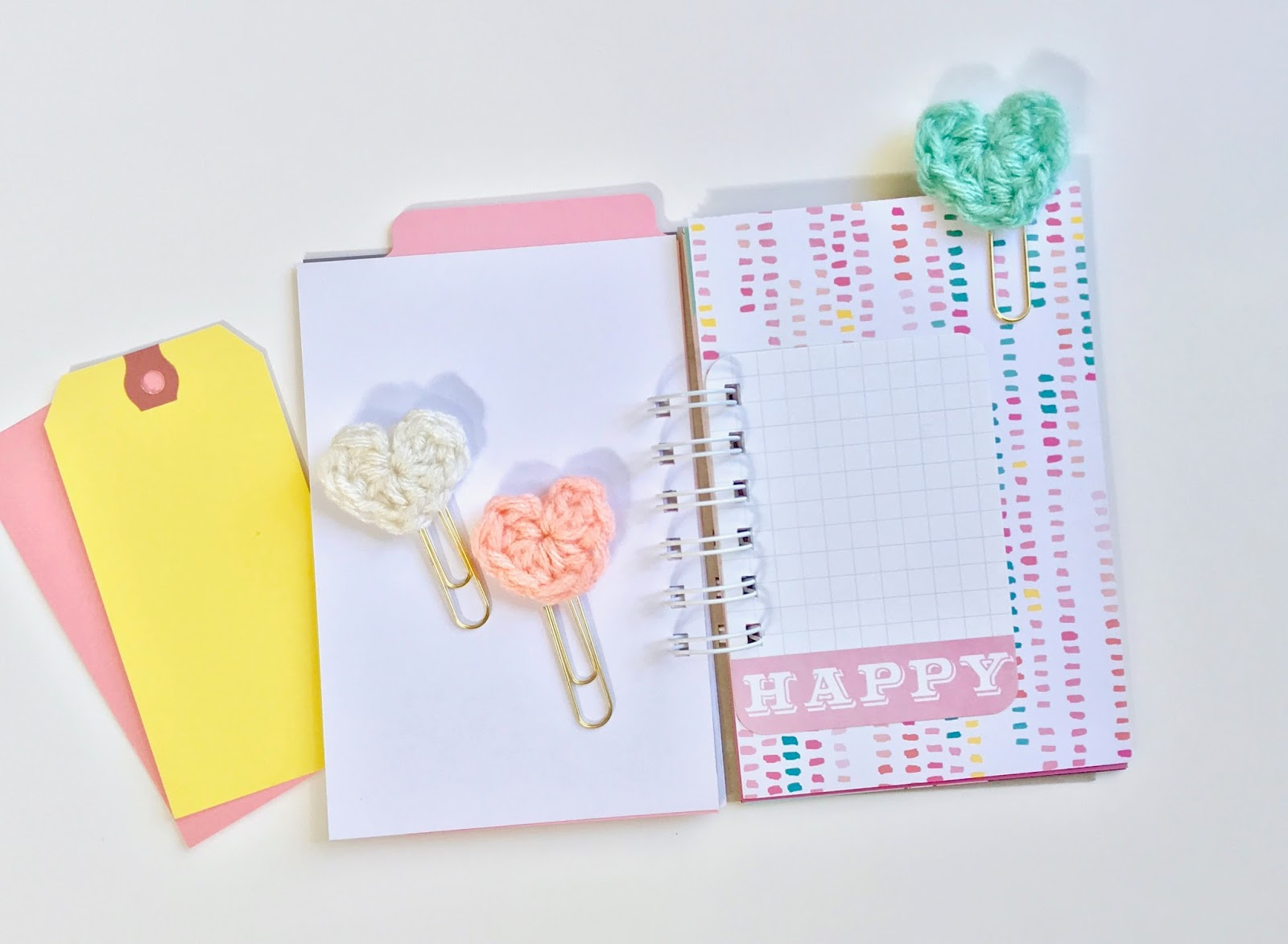 #crochet #heart #paper #clips #planner #supplies