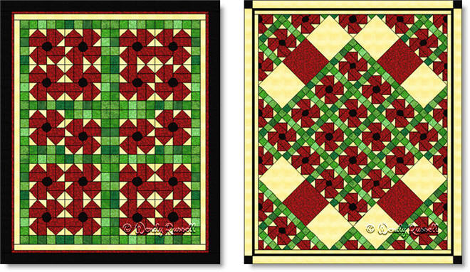 Quilts designed using the POPPY quilt block - images © Wendy Russell