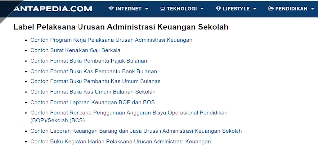Kumpulan Contoh Administrasi Pelaksana Urusan Administrasi Keuangan Sekolah