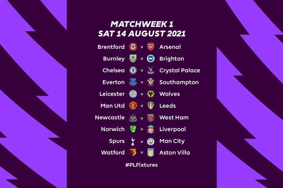 جدول مباريات الدوري الانجليزي 2021/2022