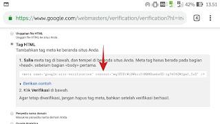 Cara Verifikasi Blog di Webmaster tool Dengan HTML TAG