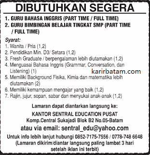 Lowongan Kerja Sentral Education Pusat