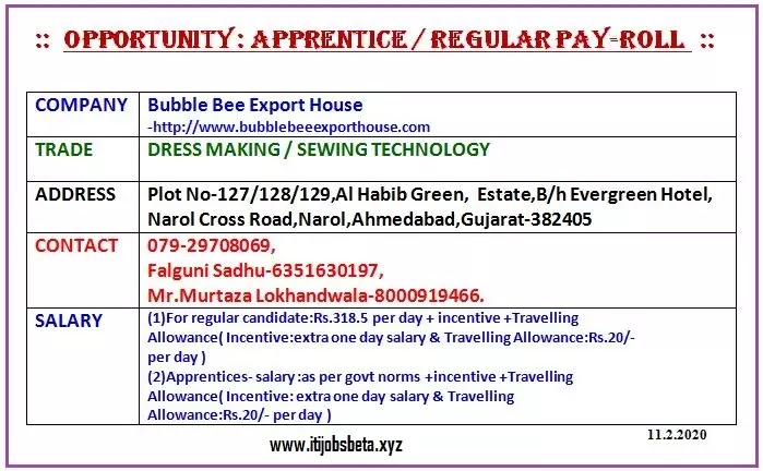 ITI Job In Bubble Bee Export House
