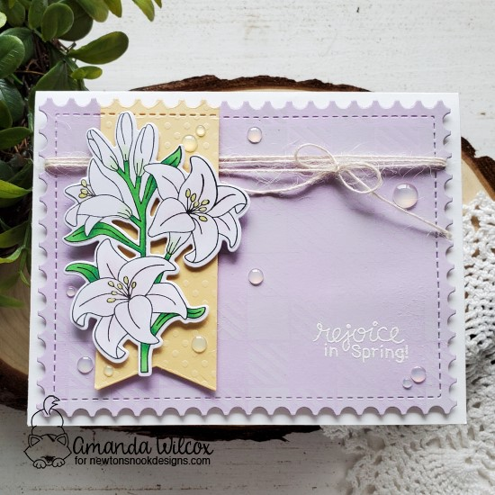 Easter Lily Card by Amanda Wilcox | Easter Lily Stamp Set and Frames & Flags Die Set by Newton's Nook Designs #newtonsnook #handmad