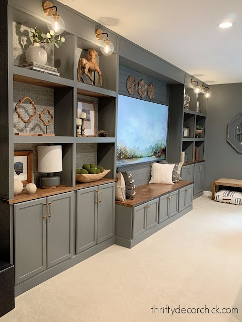 wall of built in bookcases in gray