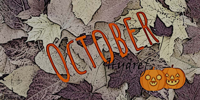 October - Hydref graphic with smiling pumpkins and a leafy background