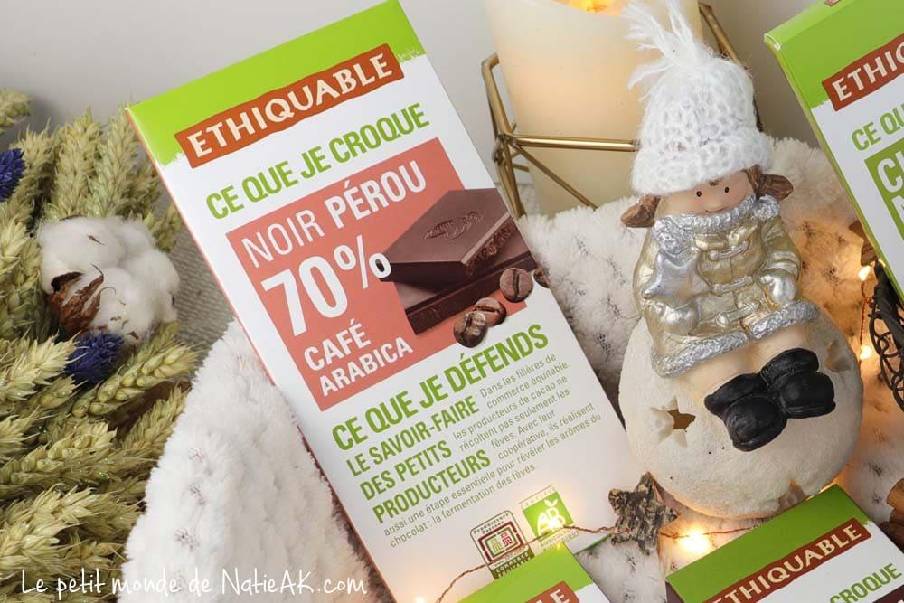 chocolat noir 70 %  bio Ethiquable bienfaits