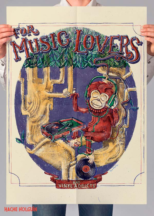 Ilustración de póster. For music lovers por Hache Holguín