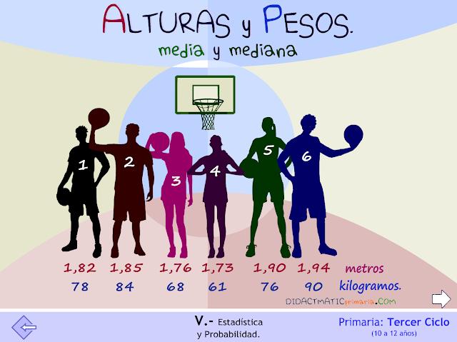 Alturas y pesos. Media y mediana.