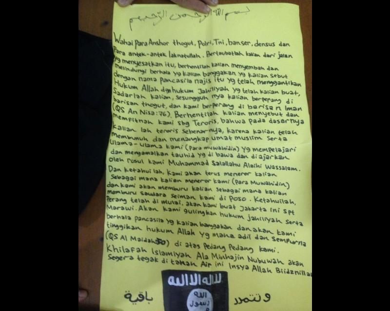 Surat ancaman ISIS mau membuat Jakarta seperti ISIS