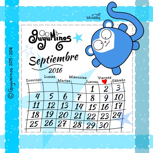 Calendario Septiembre 2016 © Guyuminos 2015 mono azul