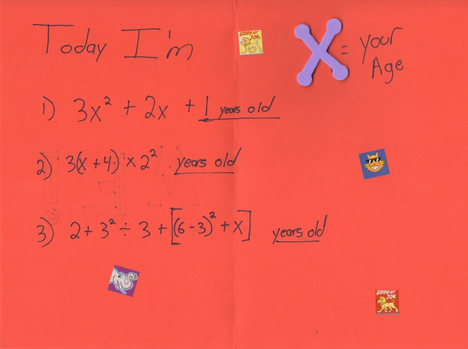 Hands On Math Happy Birthday To X