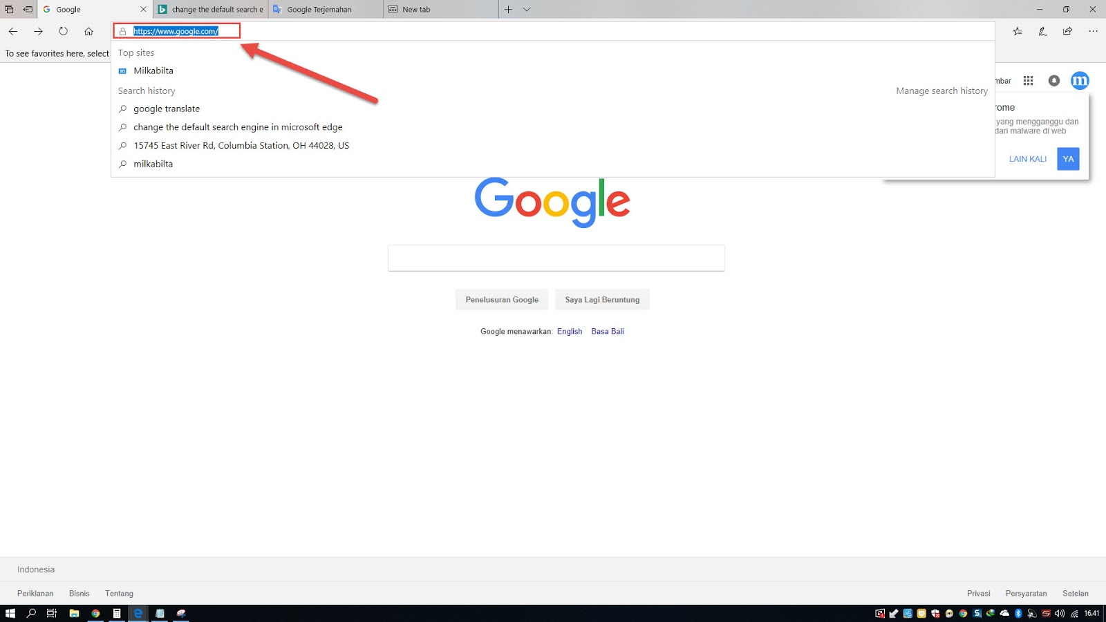 Mengubah pencarian bing dengan google di microsoft edge