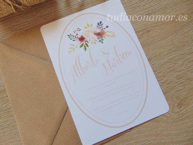 Una invitación con un toque clásico para una boda romántica y elegante