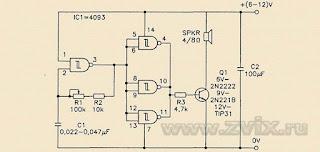 В схему генератора звука был добавлен выходной транзистор, усиливающий звуковой сигнал.