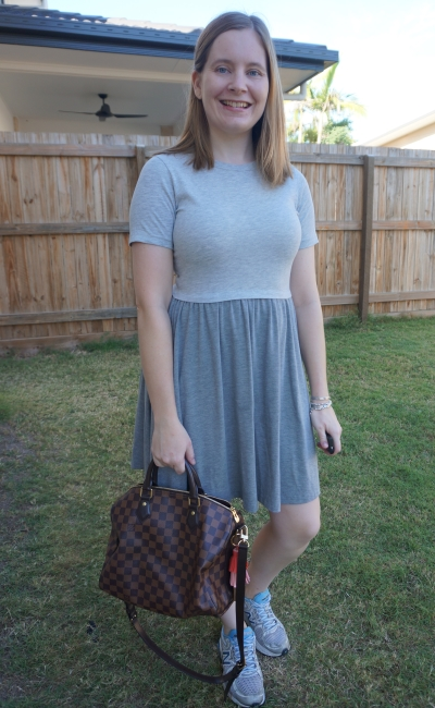 Asos grey skater dress with Louis Vuitton speedy bandouliere bag | away from blue