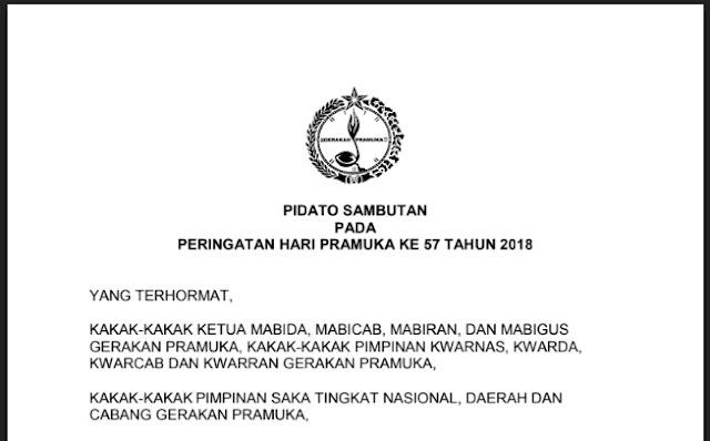 Download Naskah Pidato Sambutan Hari Pramuka Ke-57 Tahun 2018