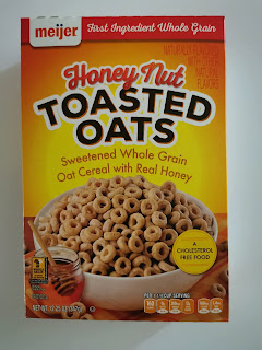 A box of Meijer Honey Nut Toasted Oats cereal
