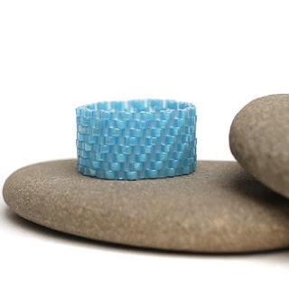 кольца 17 размера купить голубое украшение из бисера ручной работы в интернет магазине россия