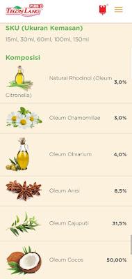 kandungan dalam minyak telon lang plus mengandung natural rhodinol perlindungan 10 jam
