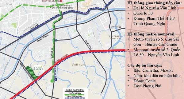 bản đồ tuyến giao thông monorail 3a tại tân kiên bình chánh