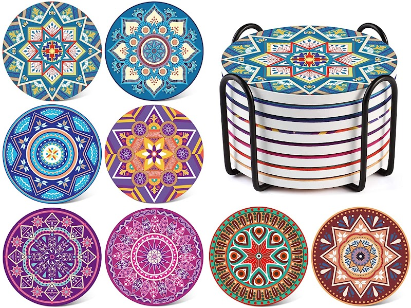 50% OFF Coaster for Drinks Set of 8 with Holder