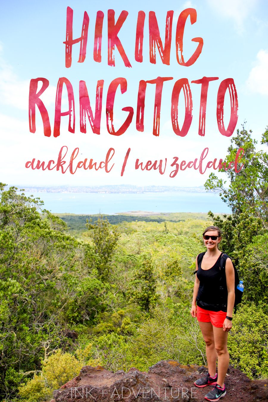 hiking the volcano on Rangitoto Island off the coast of Auckland - a great day trip to add to your New Zealand itinerary.