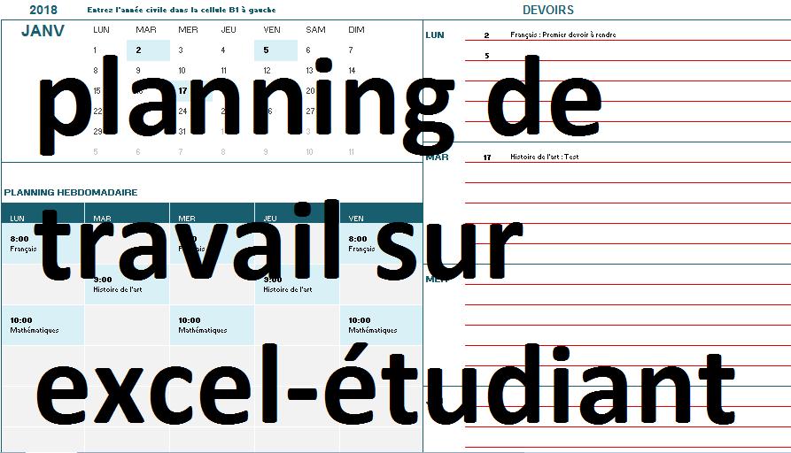 Calendrier De Travail.Exemple De Planning De Travail Et Calendrier Etudiant Sur