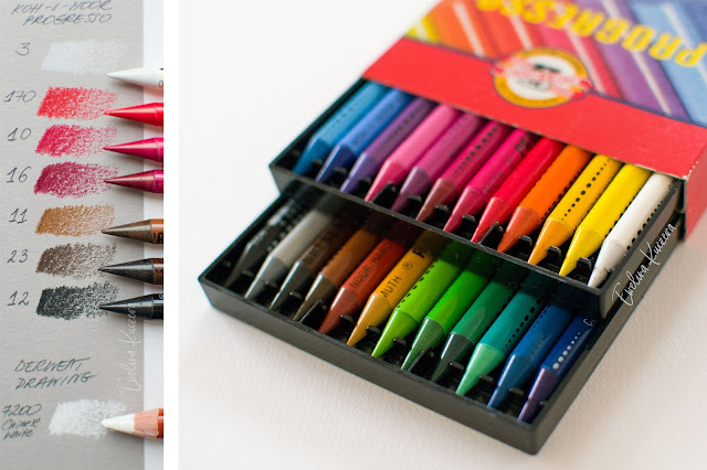 Colors used and photo of Progresso pencils