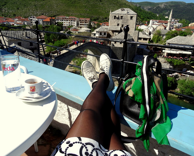 Having coffee at the Terasa Bar in Mostar with the view to the Old Bridge