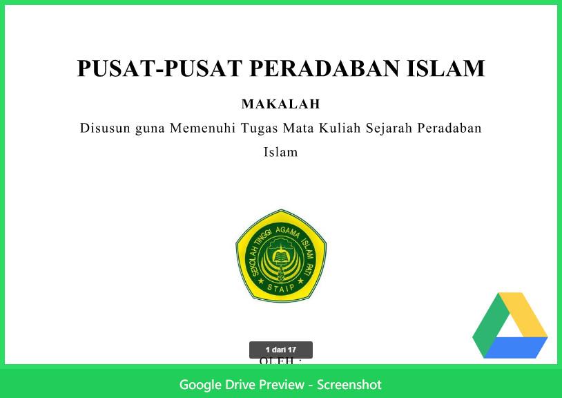 Contoh Makalah Agama Tentang Peradaban Islam