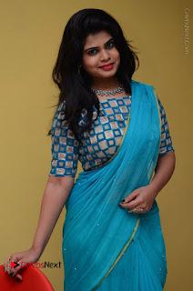 Telugu Actress Alekhya Stills in Green Saree at Swachh Hyderabad Cricket Press Meet  0045.JPG