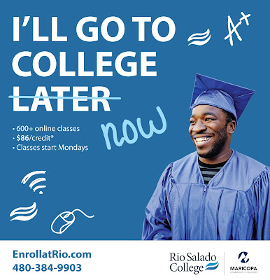 poster featuring a young man in graduation cap and gown smiling.  Text: I'll go to college now (later is crossed out).