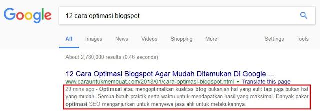 Meta Tag Deskripsi Blogspot