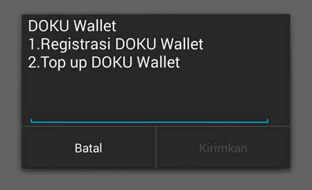 Menu Registrasi dan Top Up Dokuwallet Via *141*2#