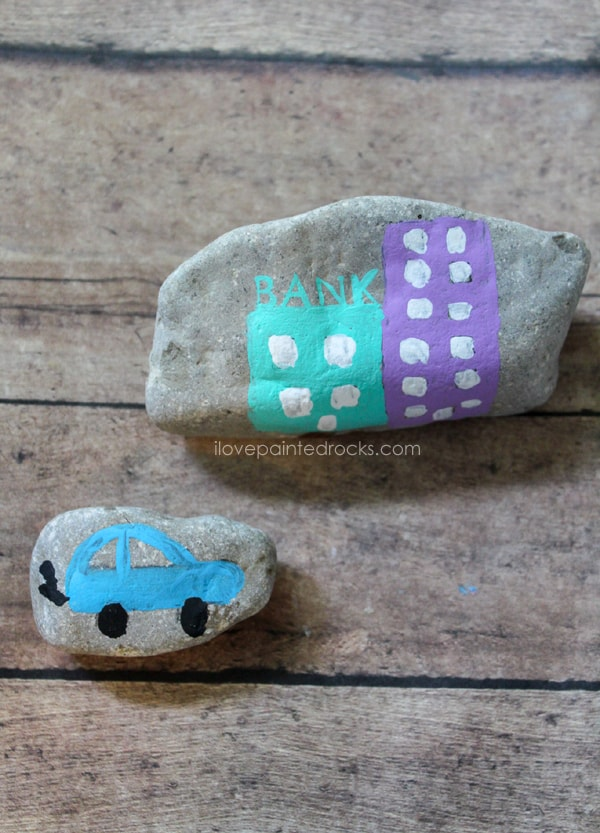 Easy rock painting ideas for kids - paint a town they can play with!