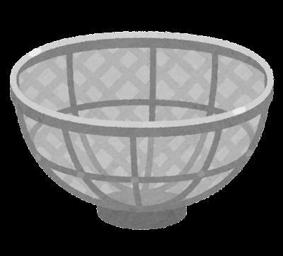 金属製のザルのイラスト