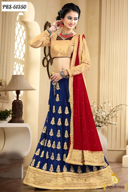 blue color chiffon lehenga style online shopping at lowest prices for girls