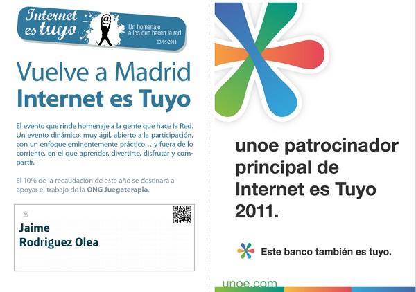 Entrada Internet es Tuyo 2011 Madrid Patrocinado por UNOE Del BBVA