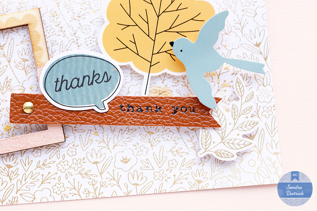 Leather tag saying Thank you