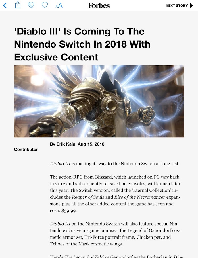 diablo 3 nintendo switch forbes leak